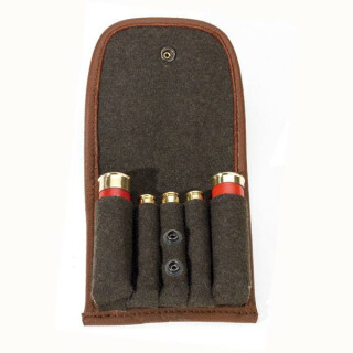 Patronenetui Loden braun Für 3 Kugeln + 2 x Schrot.