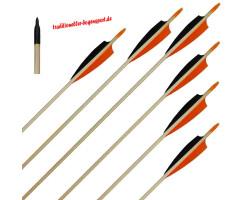 6 Stück Holzpfeile Fichte mit 4 Zoll Naturfedern schwarz / orange 45 - 50