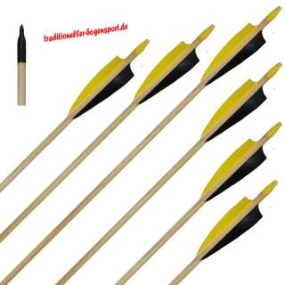 6 Stück Holzpfeile Fichte mit 4 Zoll Naturfedern 30 - 35 schwarz / gelb