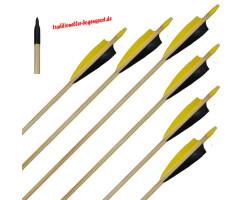 6 Stück Holzpfeile Fichte mit 4 Zoll Naturfedern schwarz / gelb 50 - 55