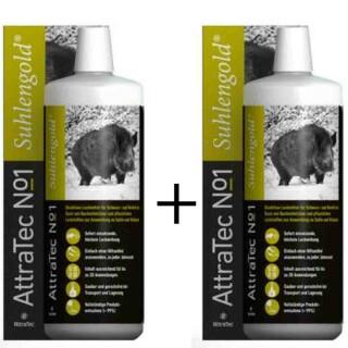 2 Stück ATTRATEC No. 1 Suhlengold - Bioaktives Lockmittel für Schwarz- und Rotwild auf Basis von Buchenholzteer und pflanzlichen Lockstoffen zur Anwendung an Suhle und Malbaum (2 Liter)