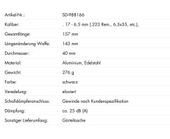 Schalldämpfer TIGER Kal. .17-6 mm