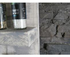 Gewürzregal weiß/grau Fichte Massivholz Vintage Shabby