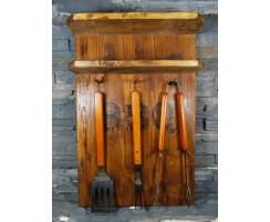 Gewürzregal Massivholz mit 3-teiligem Grillbesteck