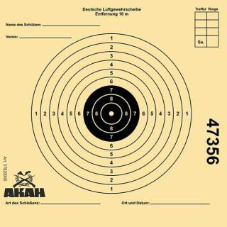 100x AKAH Luftgewehr-Scheibe 12x12cm mit 10 Ringen nummeriert